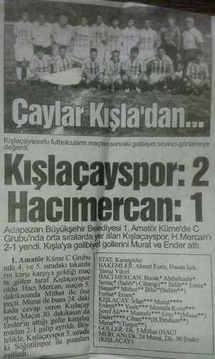 Kışlaçay Spor un Gazete Manşetleri