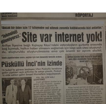 Kışlaçay Köyü Sitesi Var Ama Gazete Manşetleri Bu Gün
