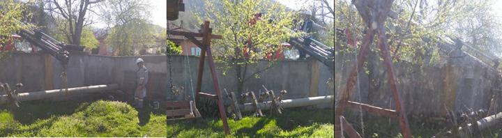 Bahçede unutulan direk Vinç Tarafından Kaldırıldı!