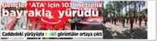 Sakarya'da 'Gençlik Haftası'Yürüyüşünde 103 Metrelik Türk Bayrağı Açıldı.