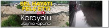 """Geyve'de Sel Hayatı Felç Etti """"Karayolu Ulaşıma Kapandı"""" (VİDEO)"""