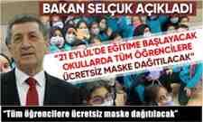 """""""Tüm öğrencilere ücretsiz maske dağıtılacak"""""""