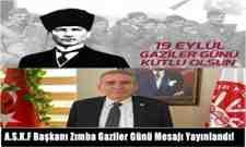 A.S.K.F Başkanı Zımba Gaziler Günü Mesajı Yayınlandı!