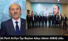 Ak Parti Arifiye İlçe Başkan Adayı Adnan AKBAŞ oldu.
