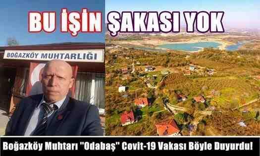 """Boğazköy Muhtarı """"Odabaş"""" Covit-19 Vakası Böyle Duyurdu!"""