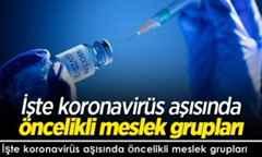 İşte koronavirüs aşısında öncelikli meslek grupları