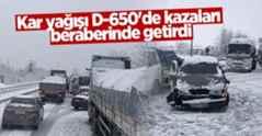 Kar yağışı D-650'de kazaları beraberinde getirdi