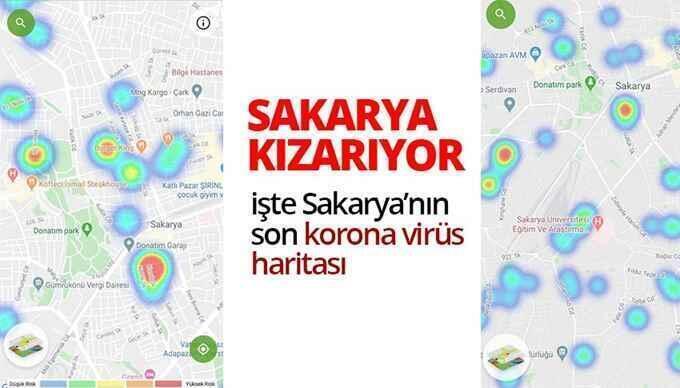 Sakarya'da vaka artışları koronavirüs haritasına yansıdı.