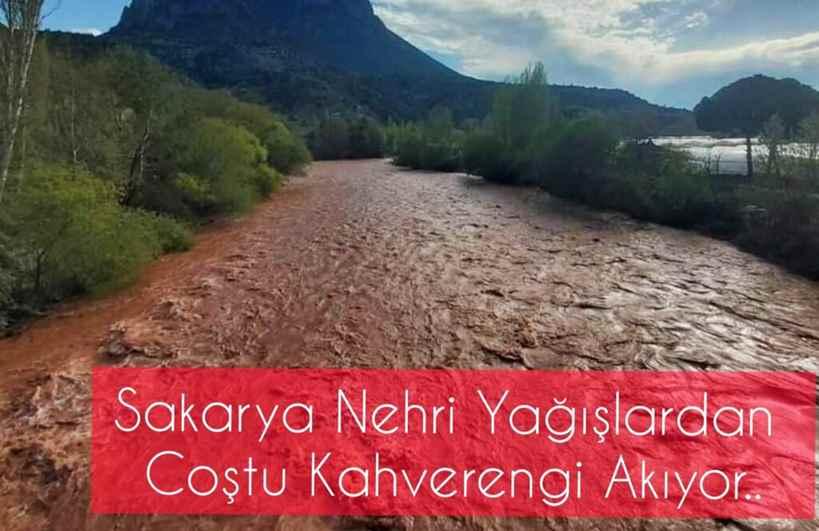 Sakarya Nehri Yağışlardan Coştu Kahverengi Akıyor..