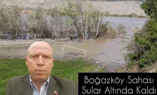 Nehir Yükseldi Boğazköy Sahası Su Altında Kaldı.