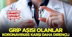 Grip aşısı olan koronaya karşı dirençli