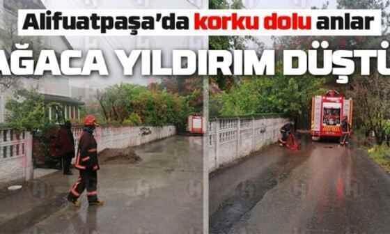 Alifuatpaşa'da yıldırım düşmesi sonucu yangın çıktı!
