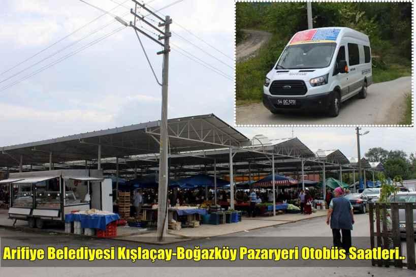 Arifiye Belediyesi Kışlaçay-Boğazköy Pazaryeri Otobüs Saatleri..