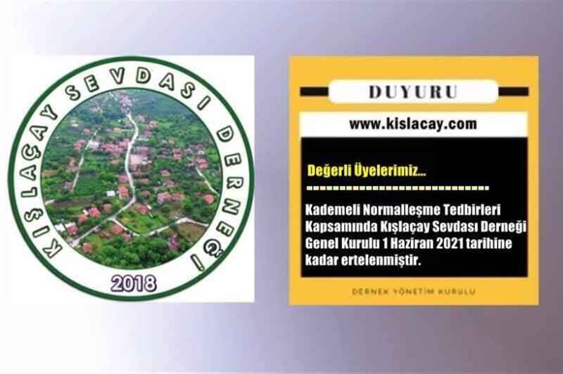 Kışlaçay Sevdası Derneği 2. Olağan Genel Kurulu Yine Ertelendi..