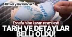 Esnafa hibe desteği kararı Resmi Gazete'de