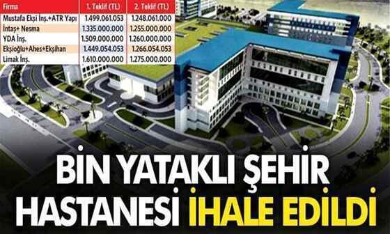 Sakarya'ya yapılacak olan bin yataklı şehir hastanesi ihale edildi!