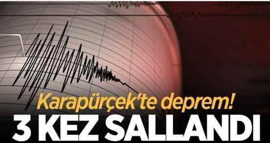 Karapürçek'te deprem! 3 kez sallandı..