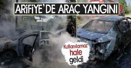 Arifiye Yukarıkirazca Mahallesi'nde araç yanarak kül oldu..