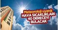 Meteoroloji uyardı! Hava sıcaklıkları 40 dereceye çıkacak
