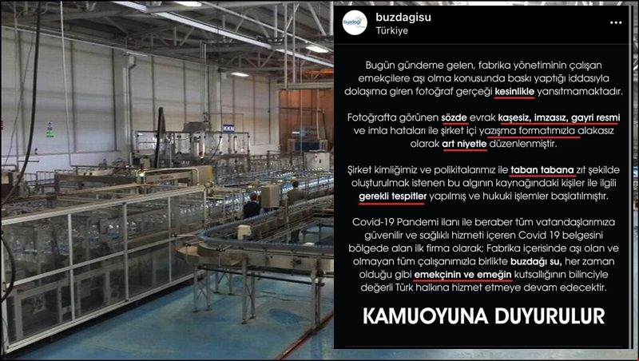 Doğançay'daki fabrikadan aşı baskısına açıklama..