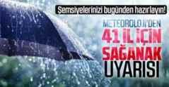 Meteoroloji'den 4 bölgedeki 41 il için sağanak uyarısı