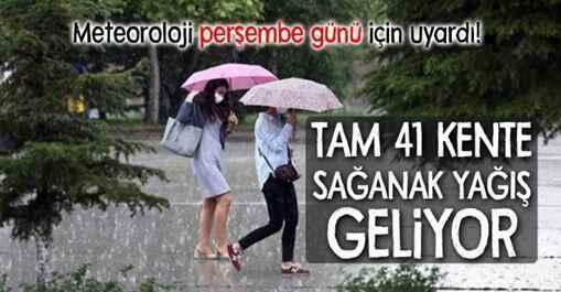 Meteoroloji'den Sakarya için sağanak yağış uyarısı