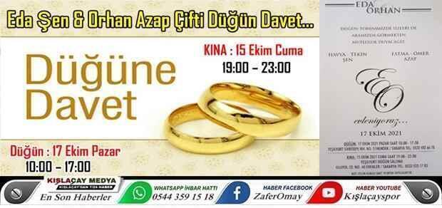 Eda Şen & Orhan Azap Çifti Düğün Davet…