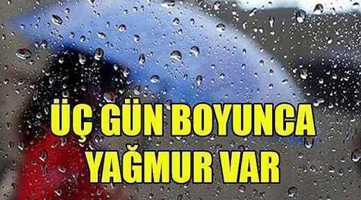 Sakarya'da Çarşamba'ya kadar yağış var.