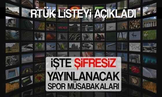RTÜK şifresiz yayınlanacak spor müsabakalarını açıkladı.
